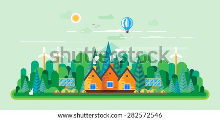Vector flat illustrations - Eco style life. Eco farm. Green energy - stock vector