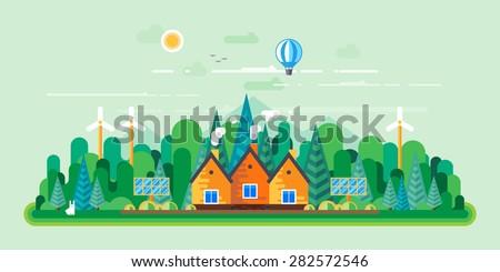 Vector flat illustrations - Eco style life. Eco farm. Green energy - stock vector