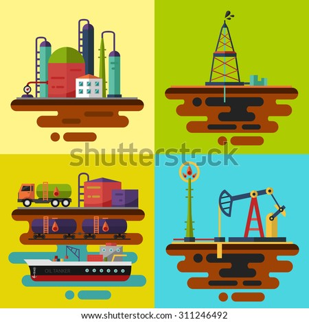 Vector flat illustrations. Oil extraction, oil rig, oil pumping station, oil delivery and storage, oil factory. - stock vector
