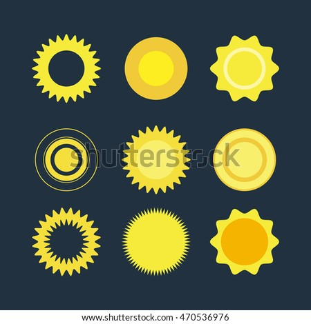 Vector flat illustrations: set of suns. Vector symbols. Collection icon for web.