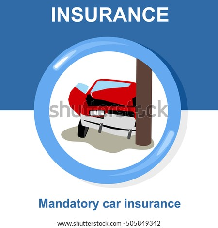 Vector flat insurance icons mandatory car insurance round yellow frame advertisements signs