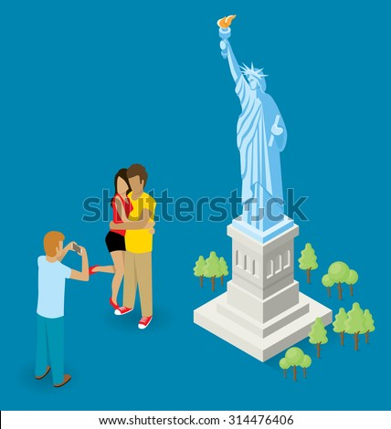 Vector flat isometric couple making selfie near the Statue of Liberty in USA - stock vector