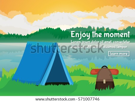 vector flat lake landscape nature banner on the theme of a picnic