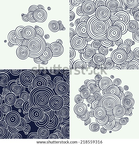 Vector flat line abstract hand drawn circles design zentangle elements and seamless patterns set, dark blue and white | Ornamental and decorative circle clouds drawings and patterns   - stock vector