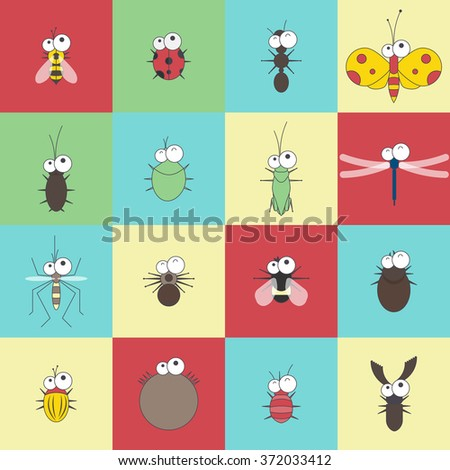 vector flat line funny cartoon bug insect set - stock vector