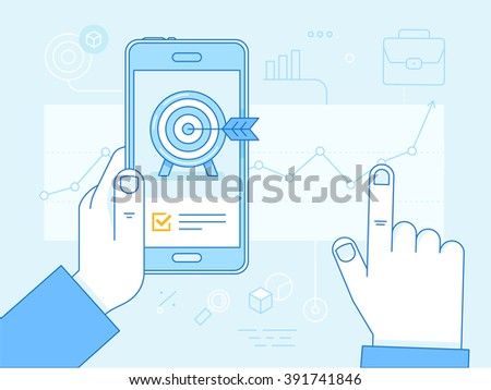 Vector flat linear illustration in blue colors - business growth strategy concept - mobile phone with? target on the screen and financial report  - stock vector