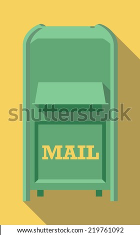 Vector Flat long shadow icon of vintage post box - stock vector