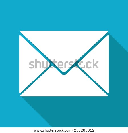 Vector flat mail icon isolated on blue background. Eps10
