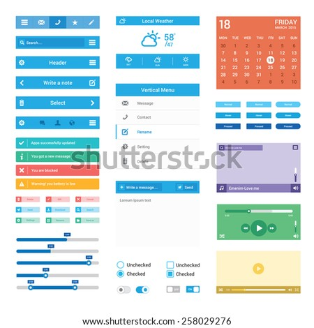 Vector Flat Mobile web Ui elements for mobile or tablet and web application | blue web & Mobile UI elements design illustration - stock vector