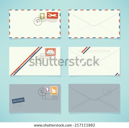 Vector flat modern airmail envelopes front and back sides set | Different post envelopes with stamps and marks icons - stock vector