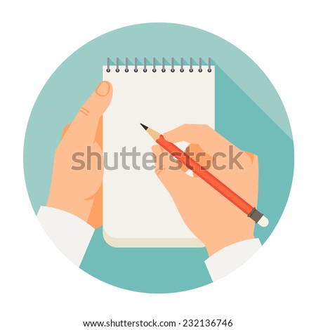 Vector flat modern round icon on hands holding notebook and pencil - stock vector