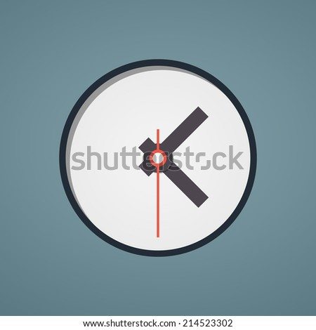 Vector flat picture (icon) of analog clock, watch in round shape with red second hand (pointer) with black border. The importance of precise time-keeping and measurement of time, punctuality,deadline.