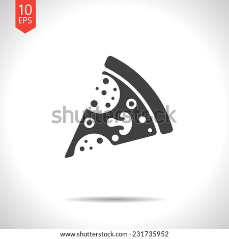 Vector flat pizza icon  isolated on white. Eps10 - stock vector
