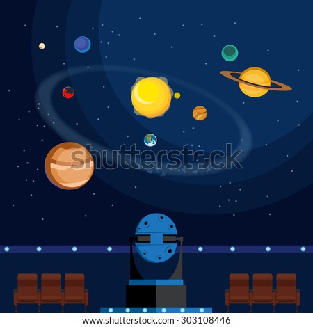 Vector flat planetarium illustration. Interior of Star Hall. Planets of Solar System. Stars in space. - stock vector