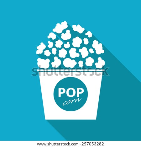Vector flat pop corn  icon isolated on blue backgrond. Eps10 - stock vector
