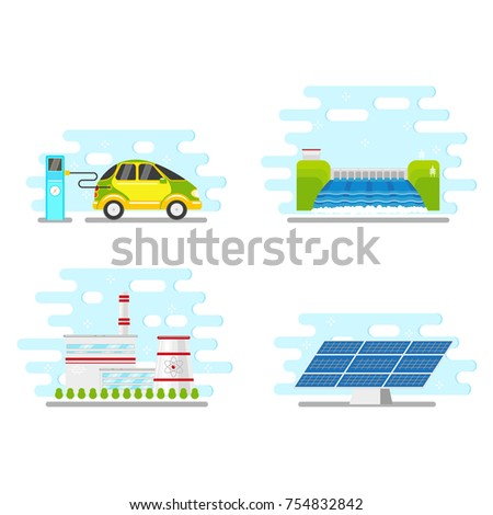 vector flat renewable, alternative energy icon set. Hydroelectric dam, solar panel and nuclear reactor power plants, electric car charging. Isolated illustration on a white blue abstract background.