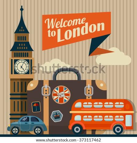 vector flat retro illustration of London - stock vector