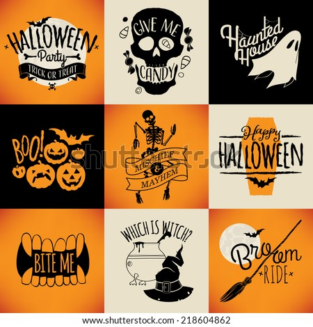 vector flat retro looking halloween items decorations lettering and design elements everything for - Halloween Items