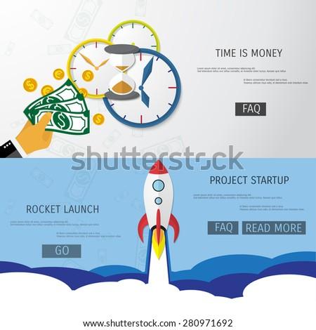Vector flat rocket web icon. Start up concept. - stock vector