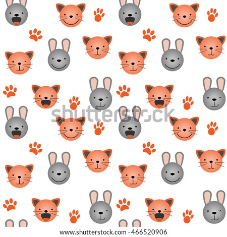 Vector flat seamless pattern - set of cute animal faces. Cat and rabbit head emotions, background element for your design. Kitten and bunny children backdrop illustration. Kids stuff decoration
