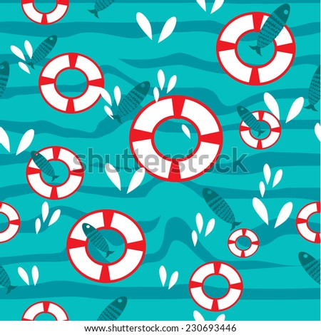 Vector Flat seamless pattern with waves and fish
