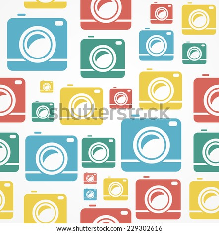 Vector Flat seamless photo camera background pattern. - stock vector