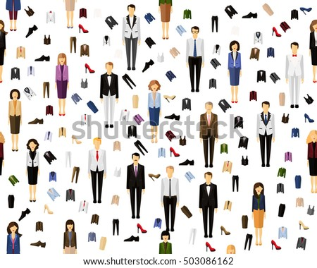 Vector flat seamless texture pattern costume business man and woman .
