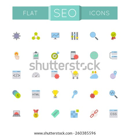 Vector Flat SEO Icons - stock vector