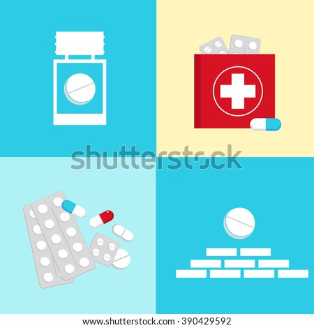 Vector flat set of medical icons : aid kit symbols, capsule and tablet. Pictograms collection of tablets and pills. Vector illustration of tablets, capsules, pills - stock vector