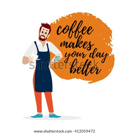 Vector flat simple friendly boy character isolated. Text message. Profession human icon. Person portrait. Barista with beard, coffee maker friendly cheerful portrait. Young attractive handsome man. - stock vector