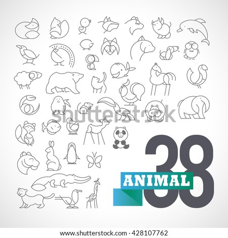 Vector flat simple minimalistic animal logo set. Animal, bird icon, mammal animal sign, symbol isolated on white background. Nature park, national zoo, pet shop logo, animal food store logo. - stock vector