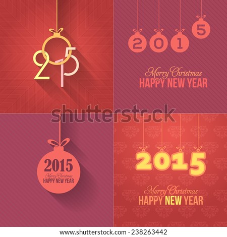 Vector Flat Style Christmas Hanging Objects Greeting Card, Background, Web Banner Design Red Backgrounds - stock vector