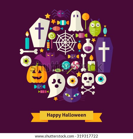 Vector Flat Style Halloween Objects Concept. Flat Design Vector Illustration. Collection of Trick or Treat Colorful Objects. Set of Scary Halloween Party Items.  - stock vector