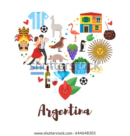 Vector flat style heart shape composition stock vector for Artistic argentinean cuisine