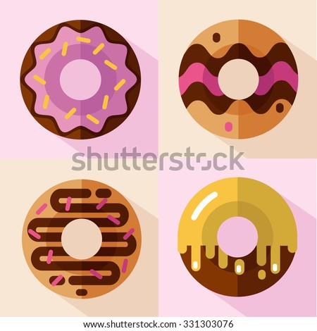 Vector flat style icons set of different types of donuts, top view. Sweets with glaze and decorative sprinkles. Fast or junk food.