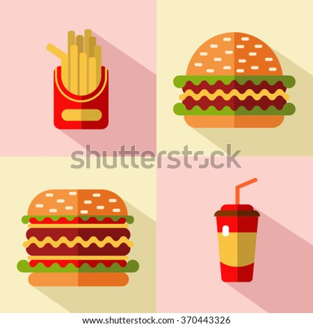 Vector flat style icons set of fast food or food with long shadow. Hamburger, cheeseburger, french fries, soda.