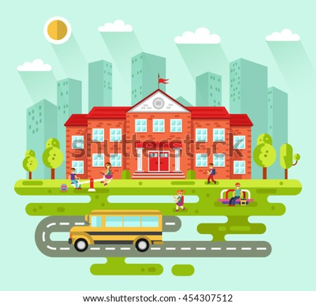 Vector flat style illustration of City landscape with school building. Bus, playground with playing kids, road, girls and boys with backpacks going to learn. Education concept. The Knowledge day. - stock vector