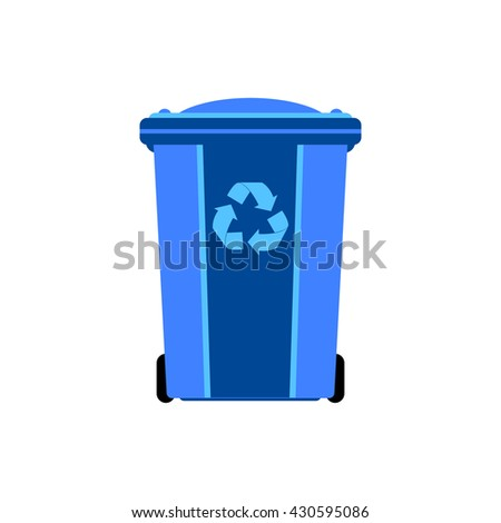 Vector flat style illustration of colorful garbage container. Recycle garbage bin for waste separation.