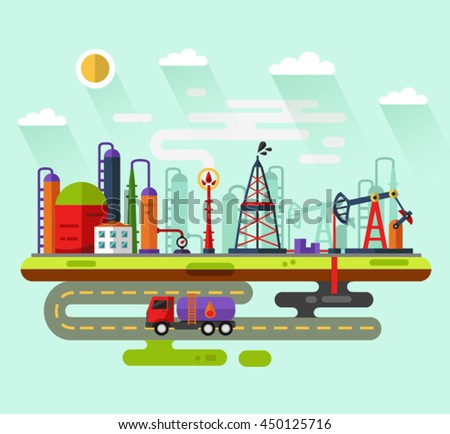 Vector flat style infographic of oil extraction industry. Including rig, pumping station, storage, factory, road, truck tanker, petroleum refinery, smoke from the chimney, clouds, sun. - stock vector