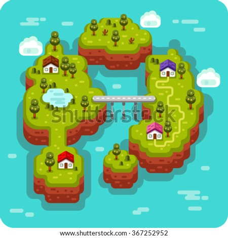 Vector flat style isometric 3d stock illustration of landscape with sea, islands, bridge and road, rural, fishermen village, trees and pond. - stock vector