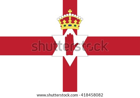 Vector flat style Northern Ireland state flag. Official design of irish flag. Symbol with crossed stripes. hand, star and crown emblems. Independence day, holiday, web site button. Add any text - stock vector