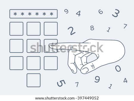Vector flat style on background. Illustration of Enter secret pin code. Hand and finger pushing button on a keypad. Password and unlock, access, identification, unlock symbol. Buttons - stock vector