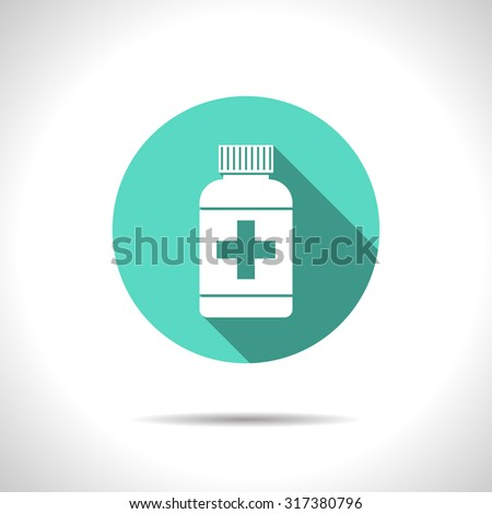 Vector flat tablet bottle on color circle . Health icon  - stock vector