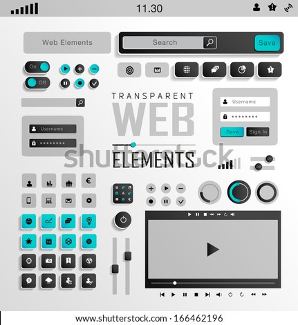 Vector flat transparent Web, mobile Elements, icons. Buttons and Label - stock vector