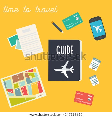 Vector flat travel illustration - stock vector