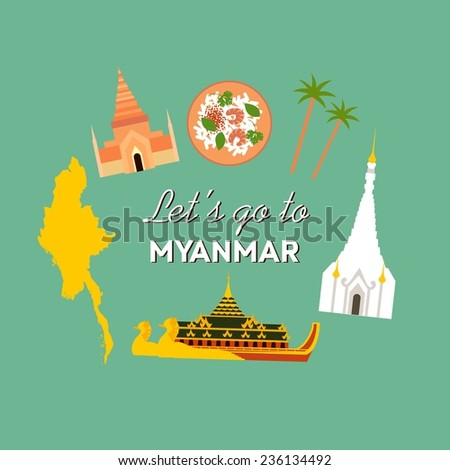 Vector flat travel info icon about Myanmar (Burma)  - stock vector