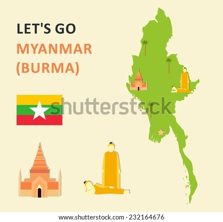 Vector flat travel info icons about Myanmar (Burma) - stock vector
