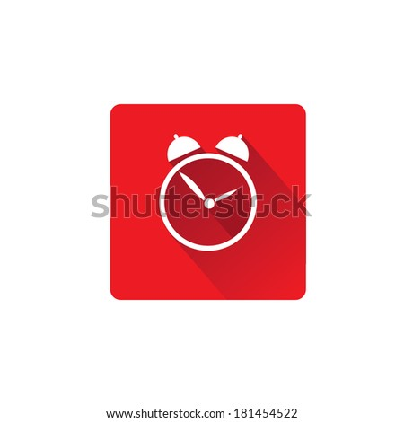 vector flat trendy design clock icon / alarm icon with long shadow template for app or web site - stock vector
