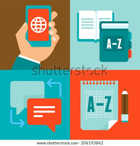 Vector flat trendy icons - translation and foreign languages - studying and interpretation - stock vector