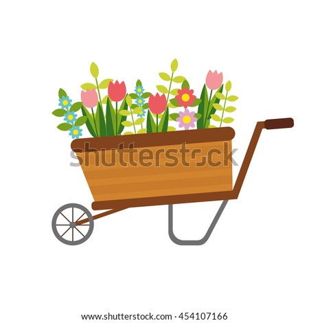 vector flat wheelbarrow with flowers